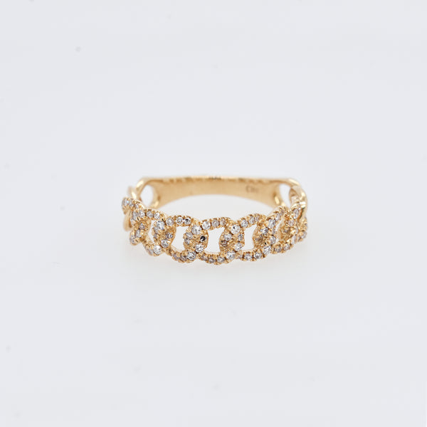 Diamond Curb Chain Link Ring