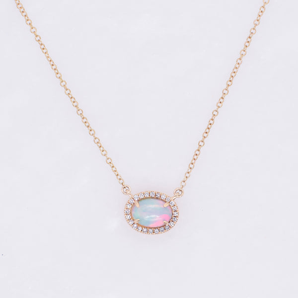 Oval Opal & Diamond Halo Necklace