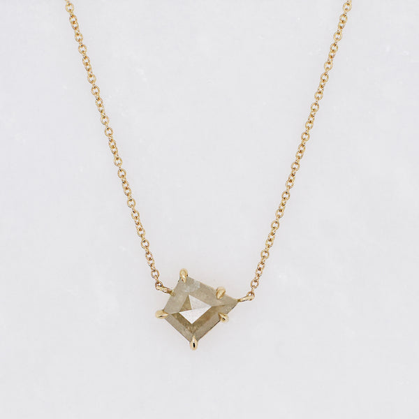 Kite Shaped Opaque Champagne Diamond Necklace