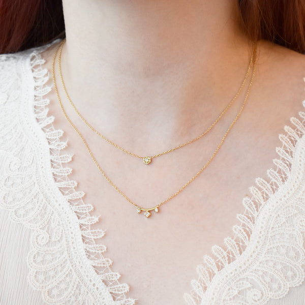 Gold Curved Bar Diamond Necklace