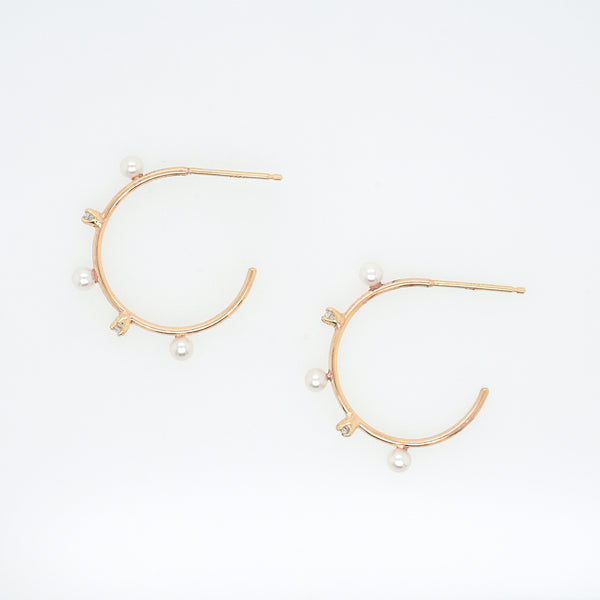 Freshwater Pearl and Diamond Medium Hoop Earrings