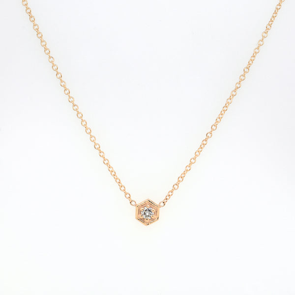 Gold Hexagon Diamond Necklace