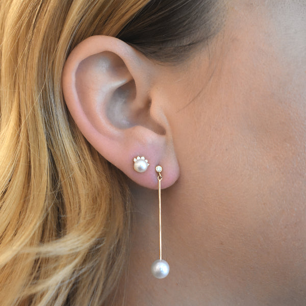 Long Bar Mobile Pearl Earrings