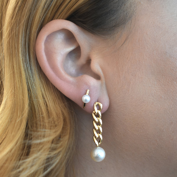 Freshwater Pearl Curb Chain Drop Earrings