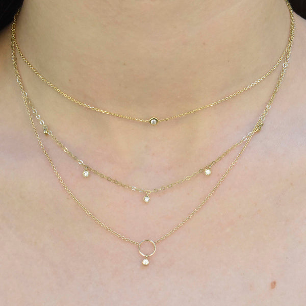 Scattered Dangling Diamond Necklace