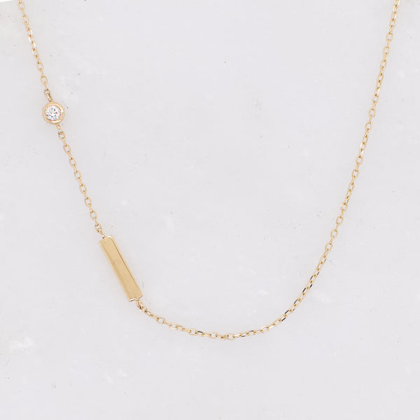White Diamond Dash Chain Necklace