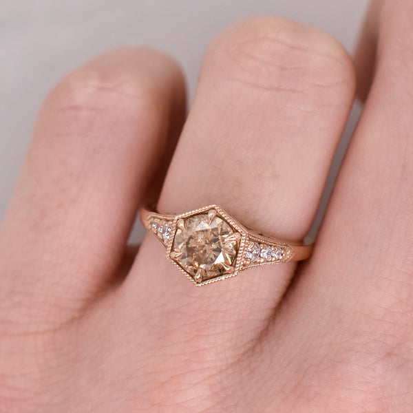 Chéri Art-Deco Hexagon Champagne Diamond Ring