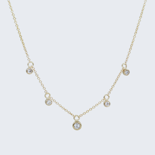 Scattered Diamond Drop Necklace