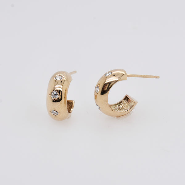 Thick Gold Huggie Hoops with Diamonds