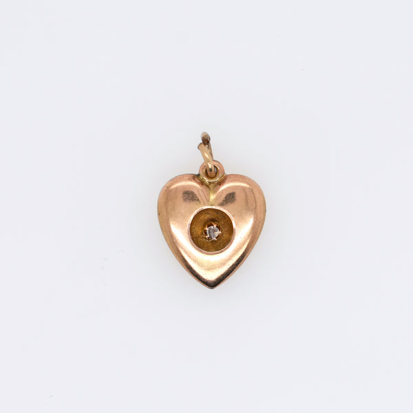 Vintage Heart Charm with Diamond