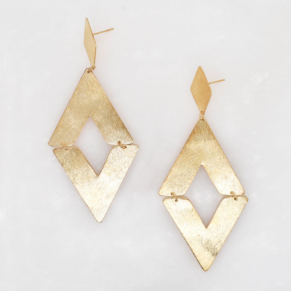 Double Diamond Shaped Dangle Earrings