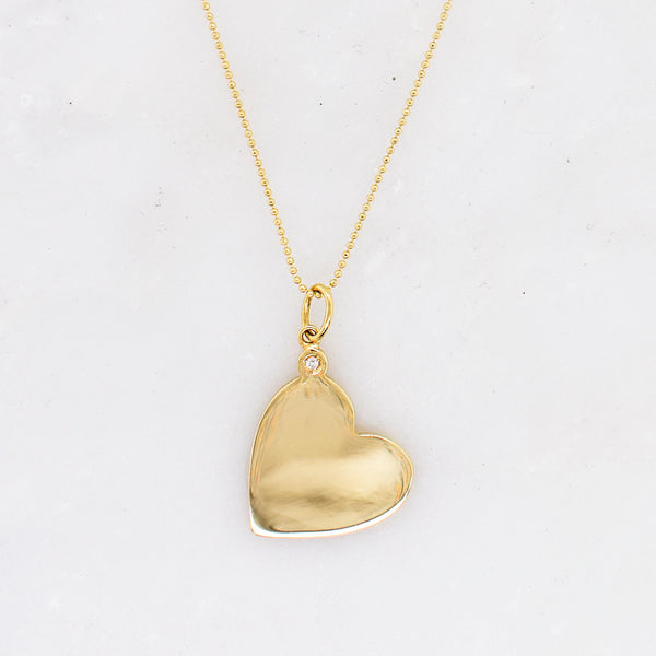 Engravable Heart Charm with Diamond Accent