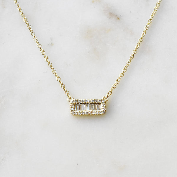 Pave Baguette Diamond Necklace