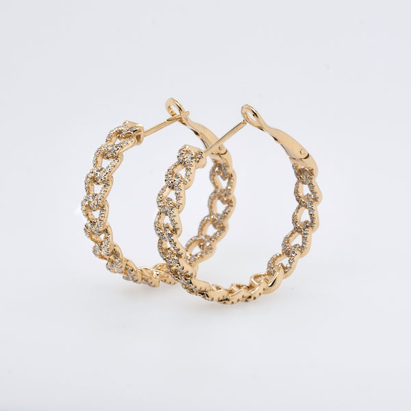 Gold & Diamond Link Hoop Earrings