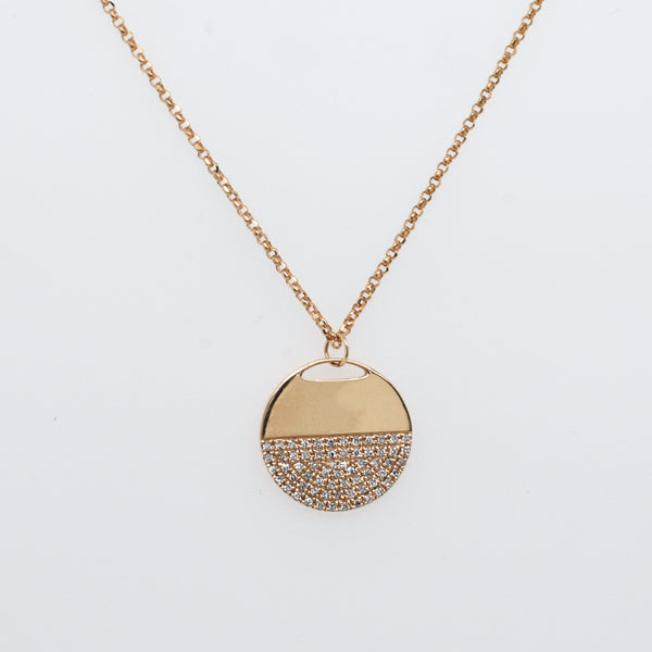 Half Moon Pavé Diamond Disc Necklace