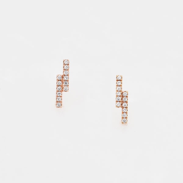 Double Bar Diamond Studs in Rose Gold