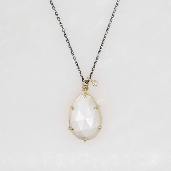 Diamond Accented Moonstone Necklace