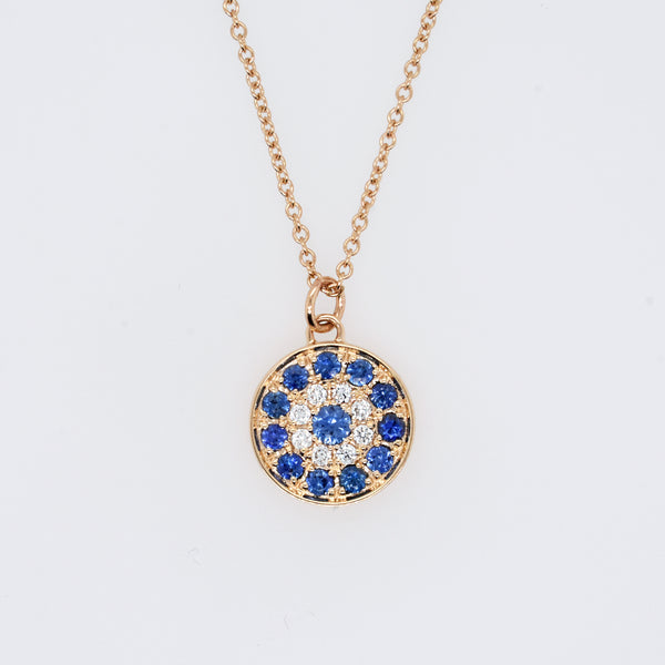 Evil Eye Diamond and Blue Sapphire Necklace
