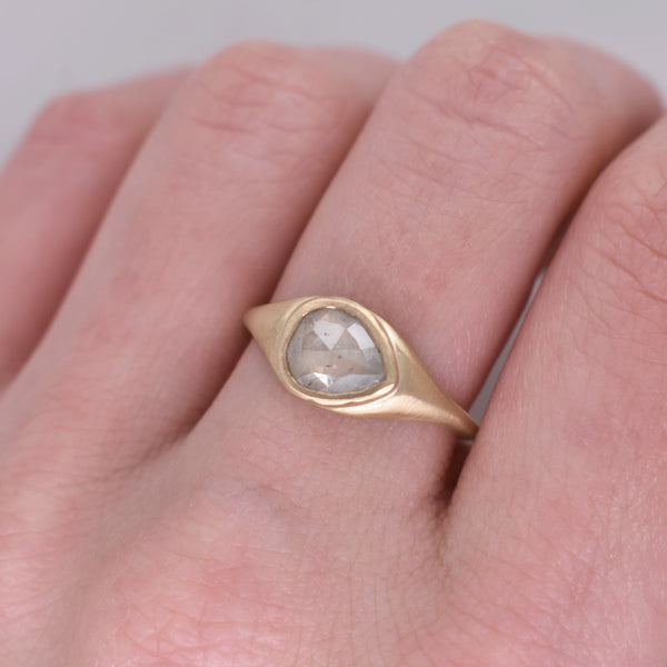 Pear Diamond Signet Ring