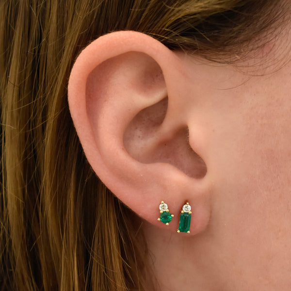 Nova Round Emerald & Diamond Studs
