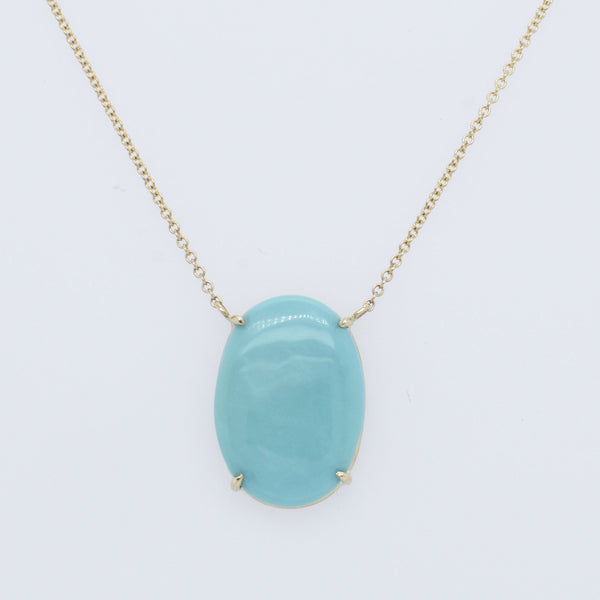 Oval Sleeping Beauty Turquoise Necklace