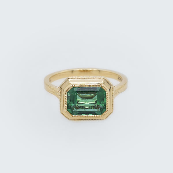 Tristan Emerald Cut Emerald & Diamond Ring