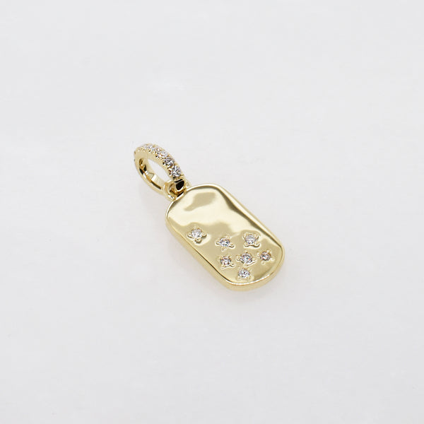 White Diamond Mini Dog Tag Charm