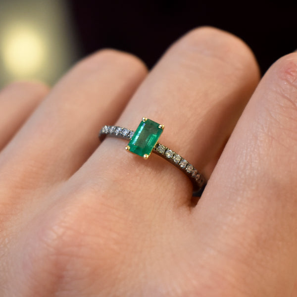 Diamond Accented Emerald Ring