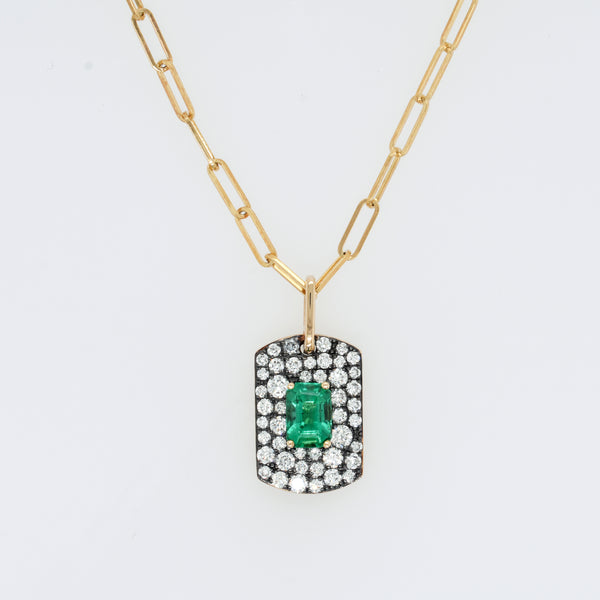 Scattered Diamond and Emerald Dog Tag Necklace