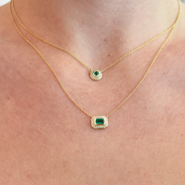 Aurora Round Emerald & Diamond Halo Necklace