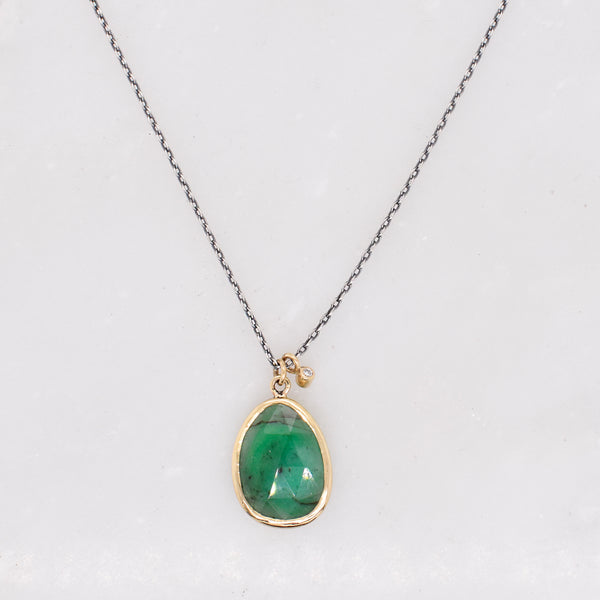 Diamond Accented Emerald Necklace