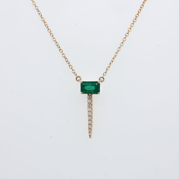 Geometric Emerald and Diamond Necklace