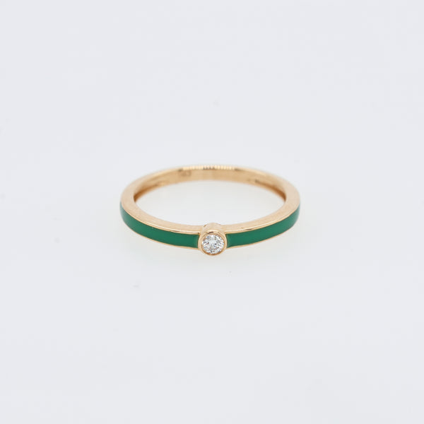 Diamond and Enamel Stack Ring