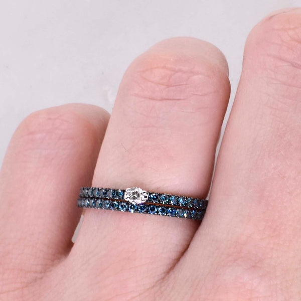 Blue and White Diamond Stack Ring
