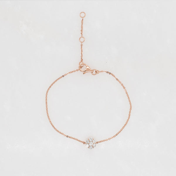 Magnolia Diamond Cluster Station Bracelet in Rose Gold