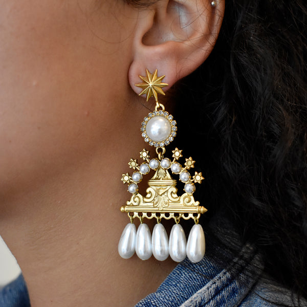 Frederica Crystal and Pearl Earrings