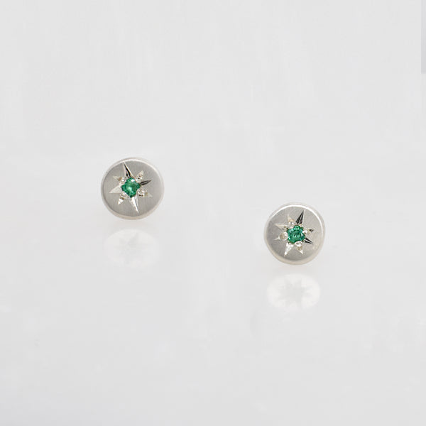 North Star Sterling Silver & Emerald Studs