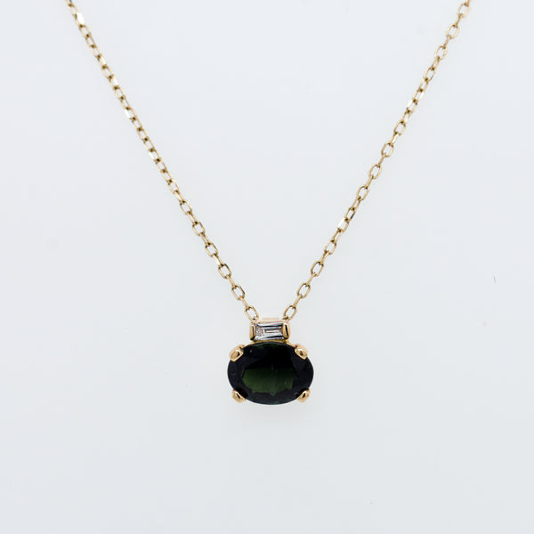 Green Tourmaline Oval With Diamond Baguette Necklace