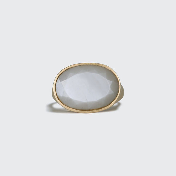 Oval Grey Moonstone Statement Ring