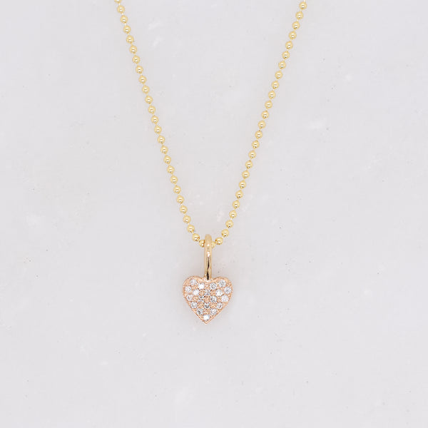 Tiny Pave Diamond Heart Charm