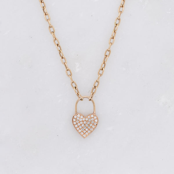 Diamond Heart Padlock Charm Necklace
