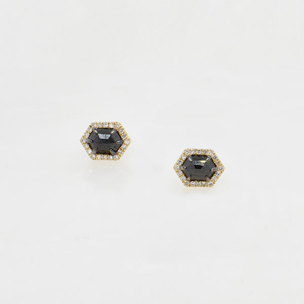 Black & White Diamond Hexagon Studs