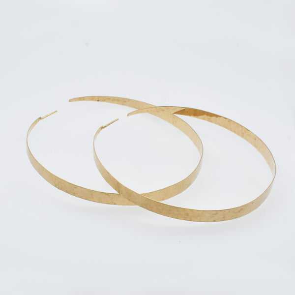Large Forged Gold Hoops