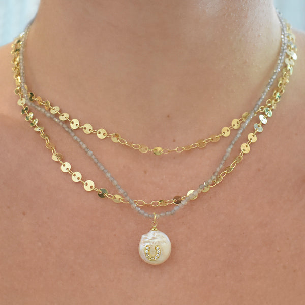 Horseshoe Pearl Charm Necklace