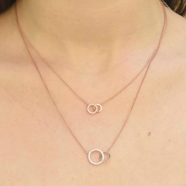 Petite Duo Double Circle Diamond Necklace