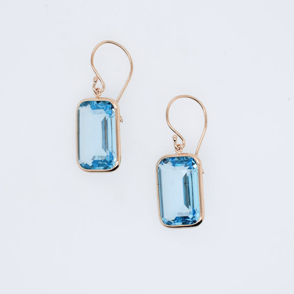 Light Blue Topaz Rectangular Earrings