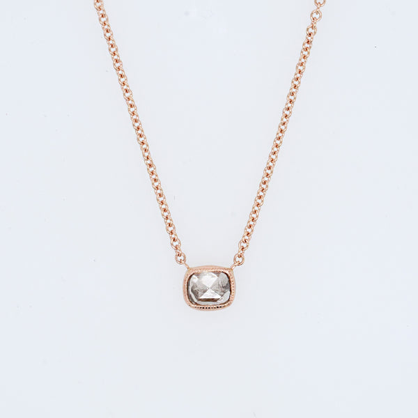 Rose Cut Salt and Pepper Cushion Diamond Necklace