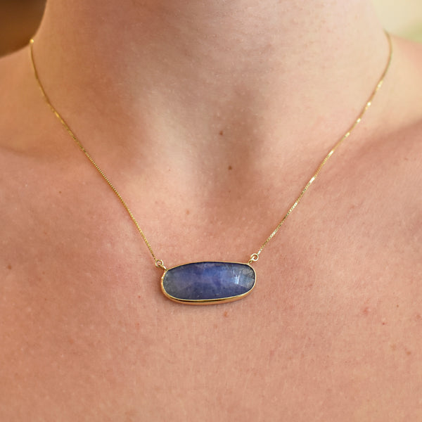 Horizontal Oval Tanzanite Necklace