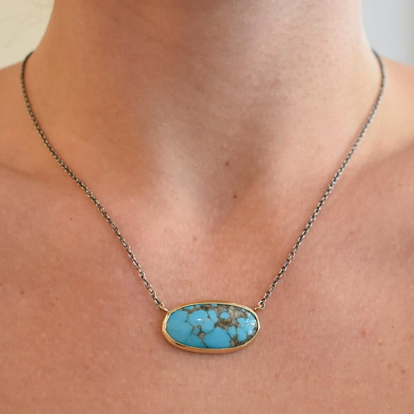 Horizontal Oval Turquoise Necklace