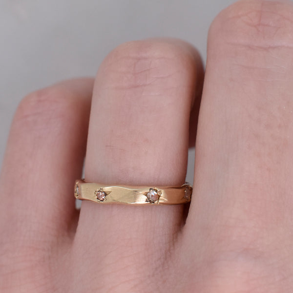 Thin Rustic Rose Cut Diamond Band